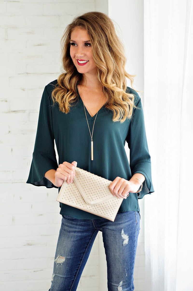 * Turn Of Events V Neck Blouse: Evergreen