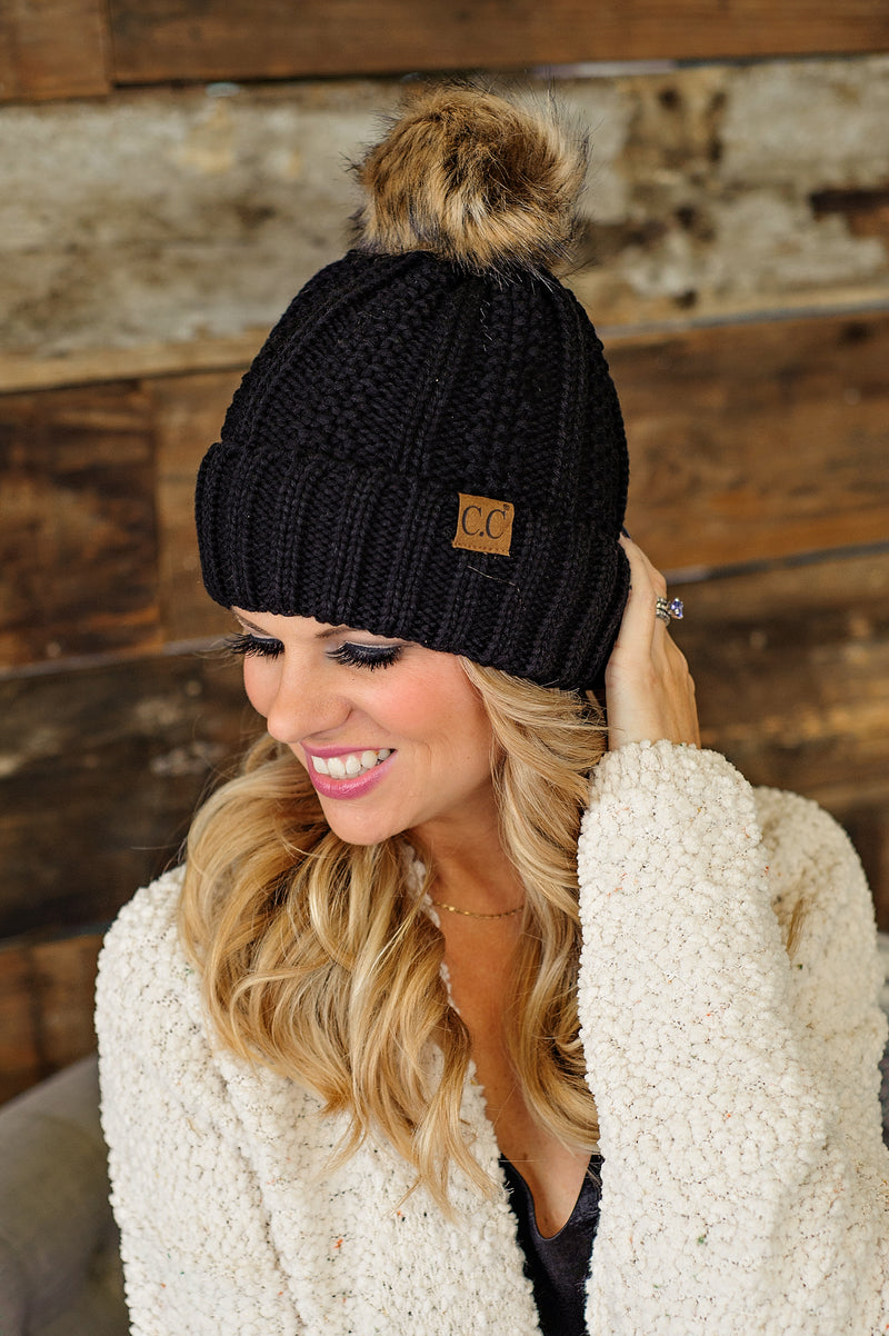 * Fur Lined C.C. Pom Beanie - Black
