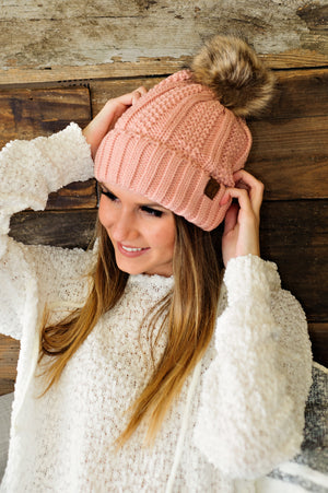 * Fur Lined C.C. Cable Knit Pom Beanie - Blush