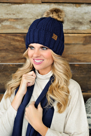 CC Beanie (Fleece Lined With Pom): Navy