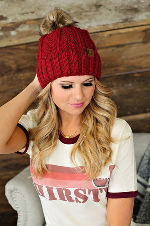 * Fur Lined C.C. Cable Knit Pom Beanie - Cranberry