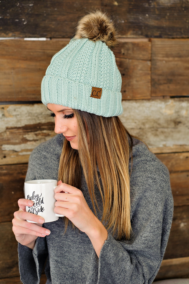 * Fur Lined C.C. Cable Knit Pom Beanie : Seafoam