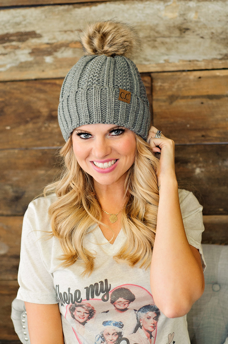 CC Beanie (Fleece Lined With Pom): Grey
