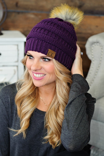 * CC Beanie With Pom Pom: Purple