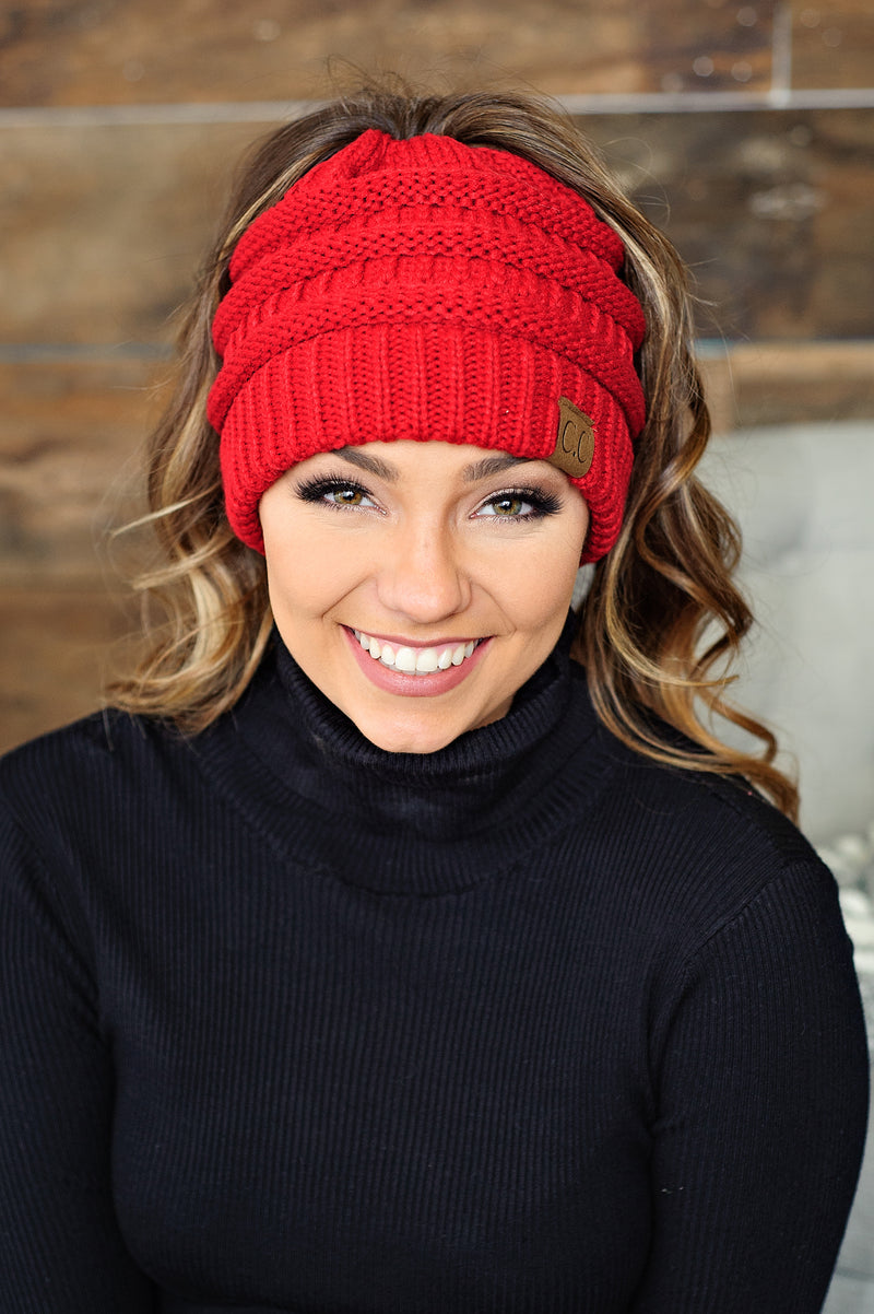 * C.C. Ponytail Beanie - Red