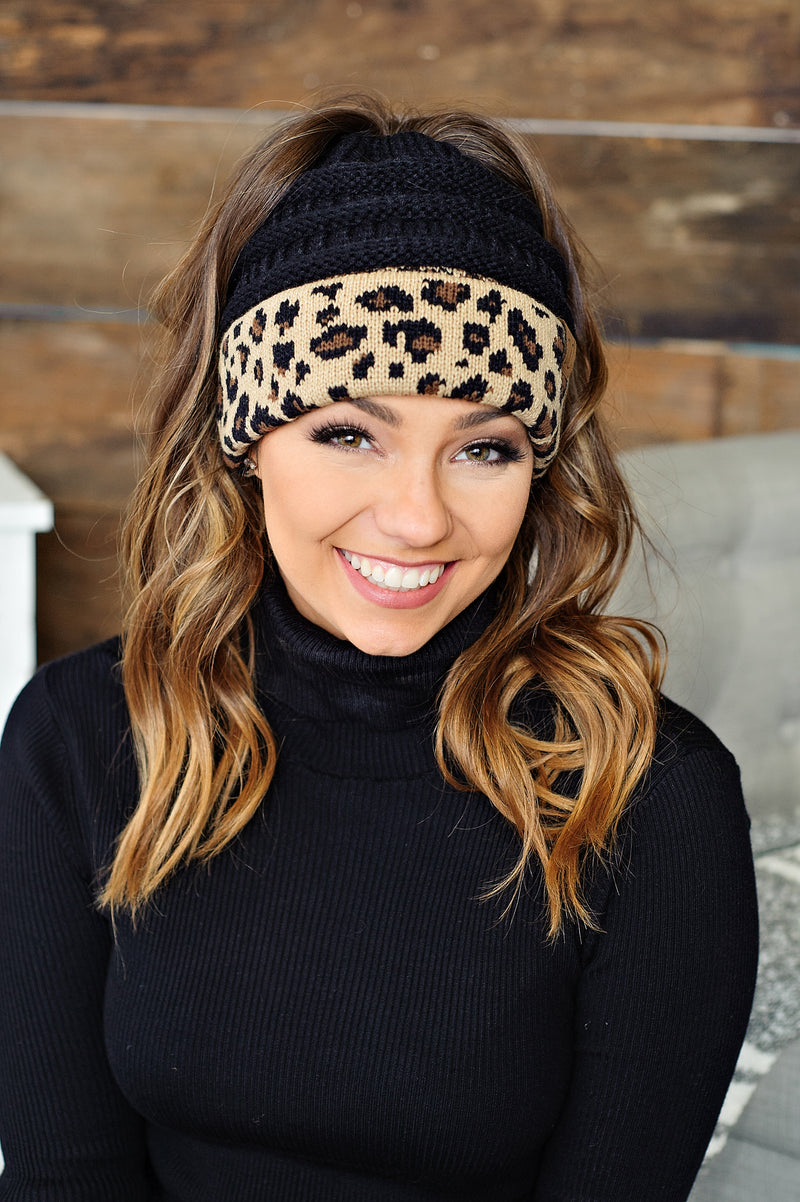 * C.C. Ponytail Beanie - Black w/ Animal Print