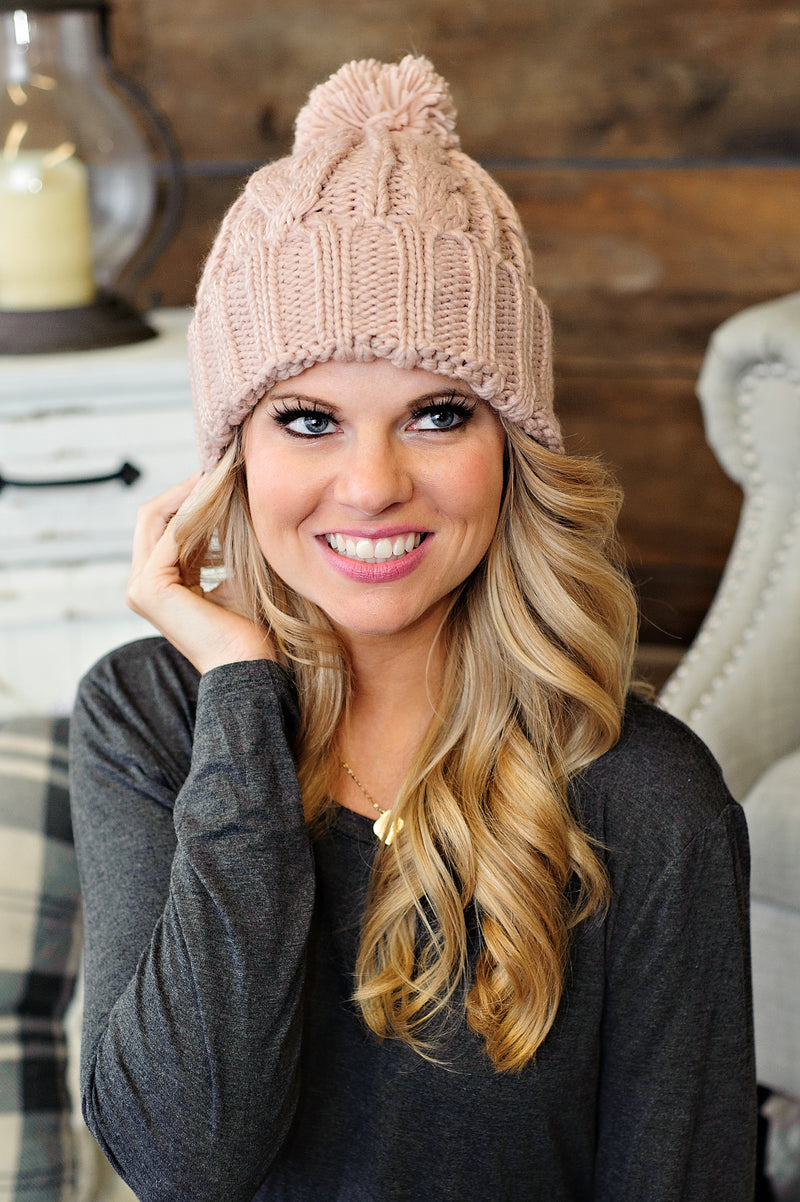 * Cable Knit Beanie With Pom : Dusty Pink