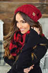 * Buffalo Plaid Infinity Scarf : Burgundy & Black