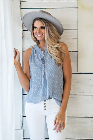 Sweet Like You Swiss Dot Chiffon Top : Slate