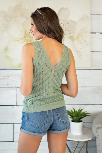 Share My Secret With You Tank Sweater: Sage