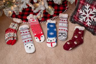 Holiday Fleece Lined Sock Slippers