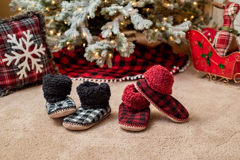 Buffalo Check Fleece Lined Slippers : Red or Black