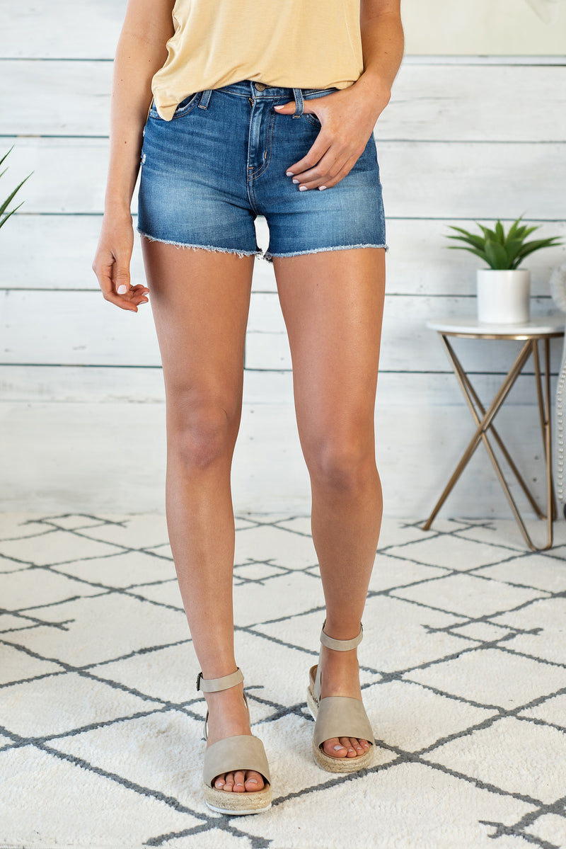 Dream High Rise Denim Shorts : Medium Wash
