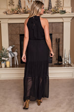 Chic City Swiss Dot Maxi Dress : Black