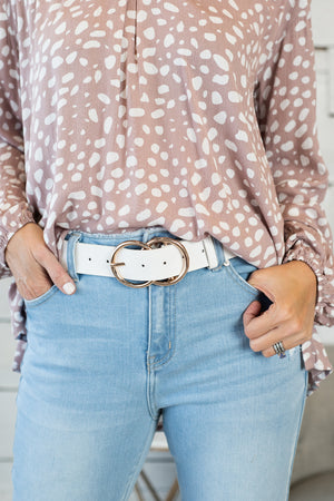 Kelci Double Ring Belt: White