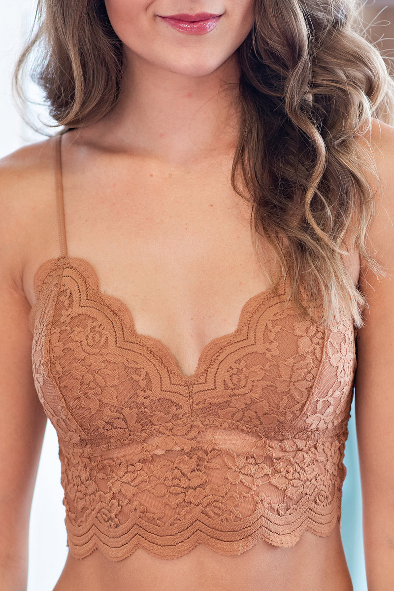 Secrets Kept Lace Bralette : Ginger