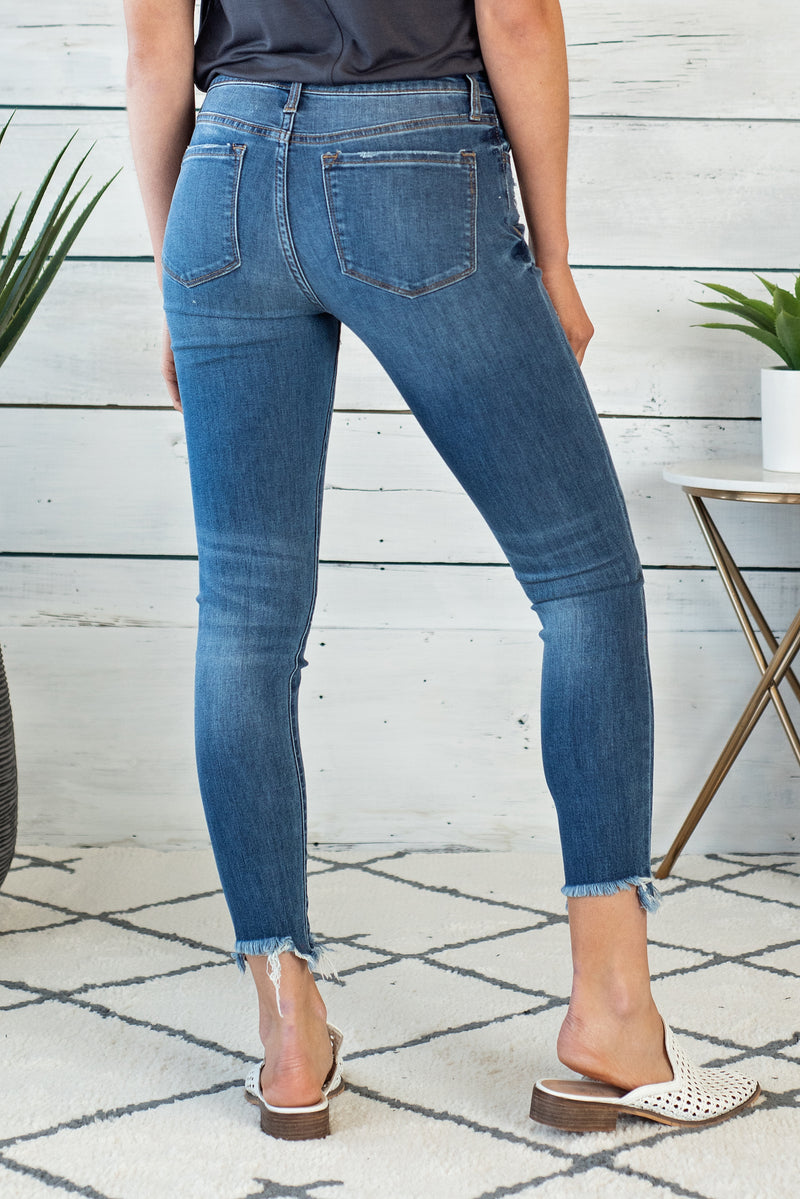 Blue Ridge Mid Rise Ankle Skinny : Med. Wash