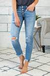 Benny Mid Rise Girlfriend Fit Jeans : Light Wash Distressed