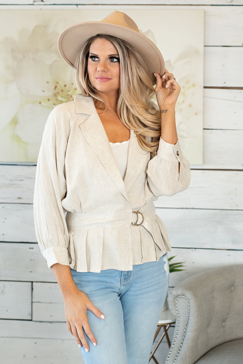 Uptown Flair Waist Belt Jacket : Taupe