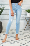 Clara Gemma High Rise Ankle Skinny : Light Wash