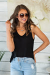 The Easy Choice Knit Tank: Black