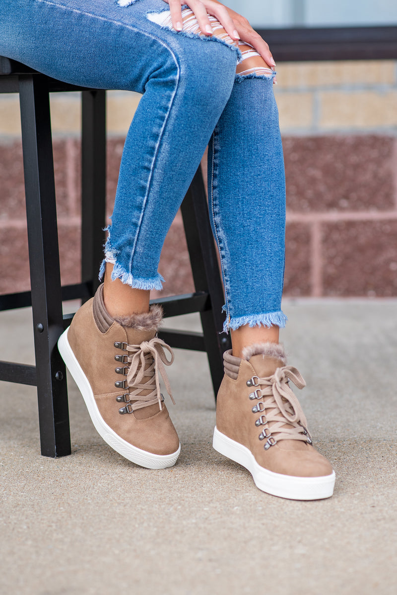 Yolo Lace Up Wedge Sneaker Booties : Brownstone
