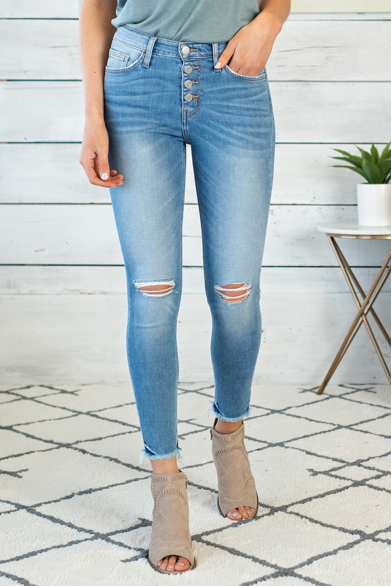 Beyond High Rise Raw Hem Skinny Crop Denim : Light Wash