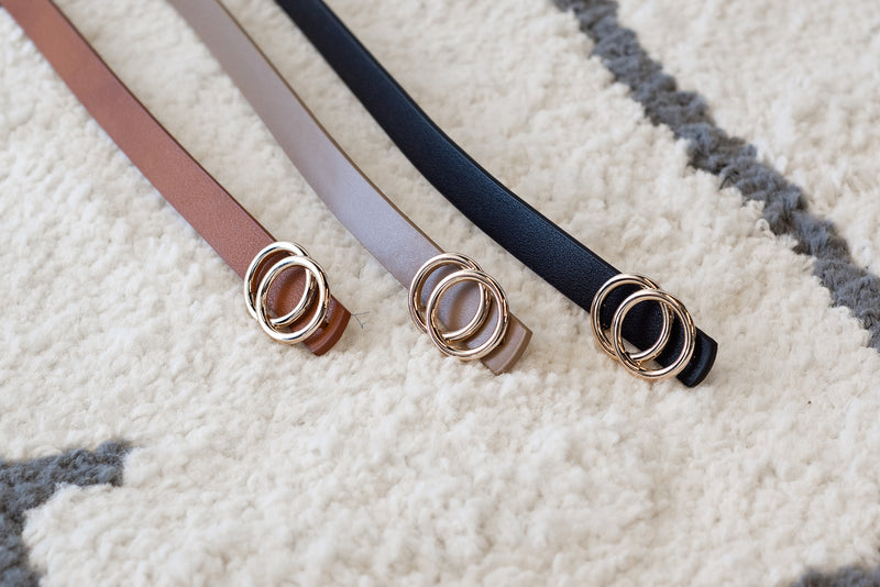 Elaine Faux Leather Ring Belts : Multi