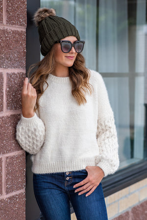 Crisp Mornings Cable Sleeve Sweater : Ivory