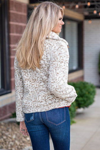 Meet Me Outside Faux Fur Animal Print Jacket : Ivory/Taupe
