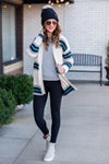 Cooler Mornings Striped Cardigan : Teal/Oatmeal/Grey