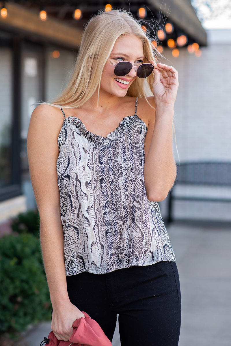 Center Stage Look Snake Print Tank : Mocha/Black/Gold