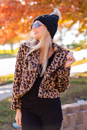 Truth Untold Faux Fur  Leopard Jacket : Brown