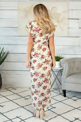 Roses Galore Flutter Sleeve Maxi Dress : Natural
