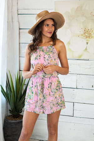 Hawaiian Palms Chiffon Romper : Pink & Green