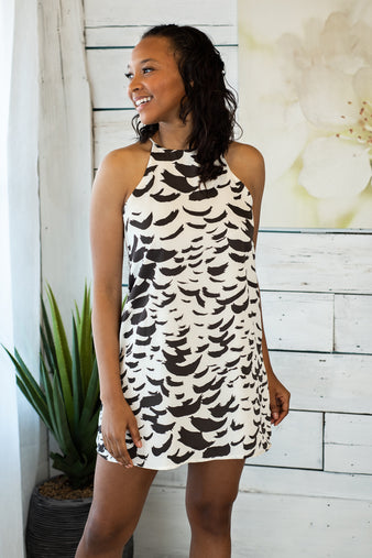 Following Feathers Shift Dress : Ivory & Grey