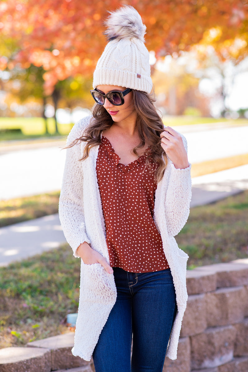 A Side Of Cozy Popcorn Cardigan : White