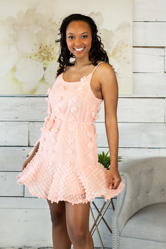 Maui Sunset Swiss Dot Dress : Baby Pink