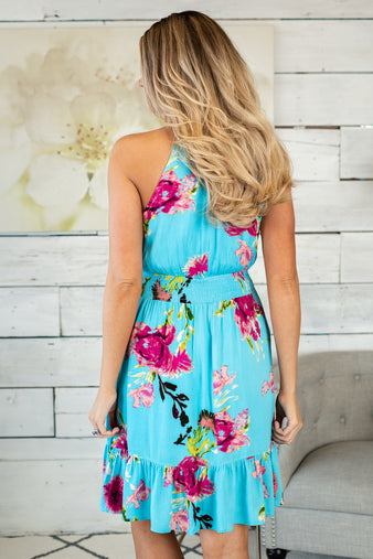 Cali Breeze Halter Neck Dress : Turquoise