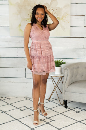 Love is Bliss Sleeveless Lace Dress: Dusty Pink