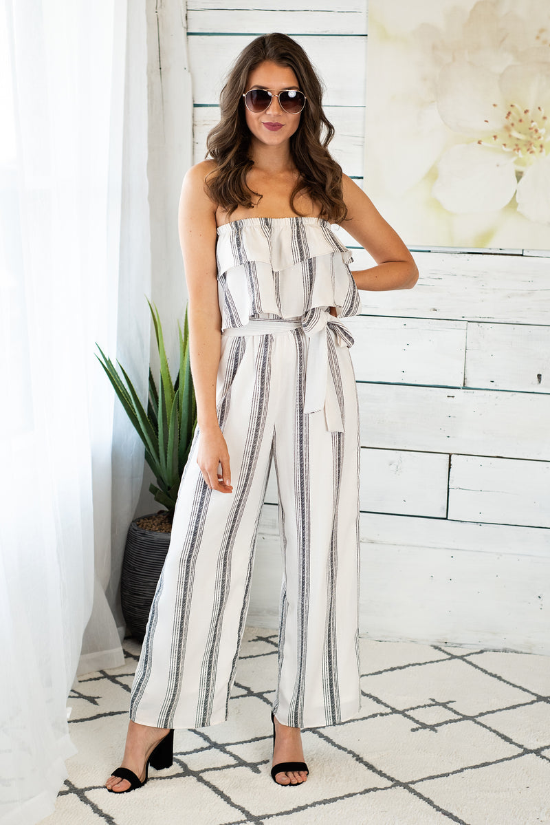 Coastal Crushing Striped Jumpsuit : Cream/Black