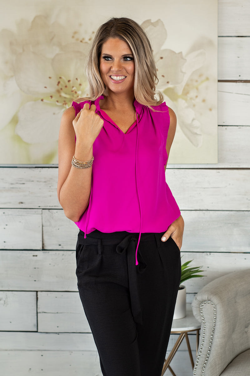 Make Way For Margs Sleeveless Top : Magenta
