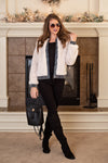 Style Fusion Faux Fur Contrast Jacket : Off White/Denim
