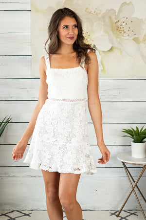 Champagne Toast Lace Mini Dress : White