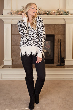 Good Advice Leopard Distressed Sweater : Ivory
