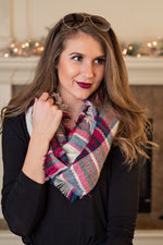 Snuggle Up Infinity Scarf : Cream, Pink, Red, Navy