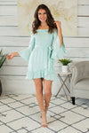 Ocean Water Smocked Dress : Mint
