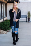A Side Of Cozy Popcorn Cardigan : Black