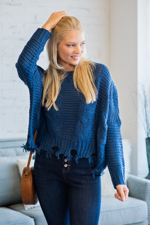Change The Tempo Distressed Knit Sweater : Royal Blue
