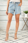 The Lillian Over Fit Denim Shorts : Light Wash